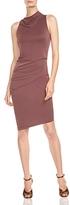 Halston Mock-Neck Draped Dress