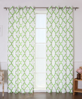 Best Home Fashion Green Oxford Reverse Curtain Panel - Set of Two