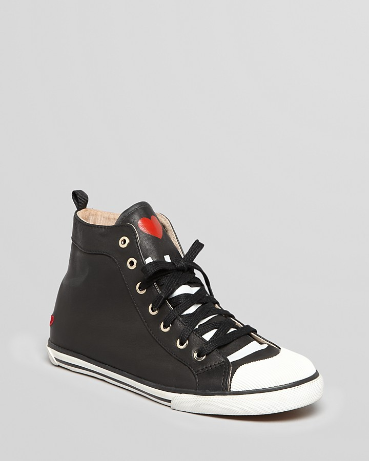 Love Moschino High Top Lace Up Sneakers - Heart
