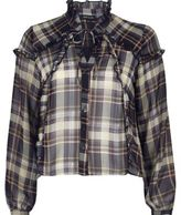River Island Womens Blue check blouse with frill