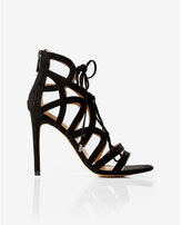 Express strappy faux suede lace-up heeled sandal