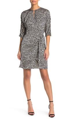 London Times Tie Side Leopard Woven Dress (Petite)