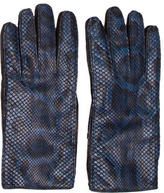 Burberry Leather Snakeskin-Trimmed Gloves