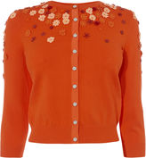 Karen Millen Floral Beaded Cardigan - Orange