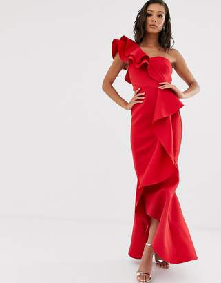 True Violet Black Label extreme frill detail midaxi dress in red