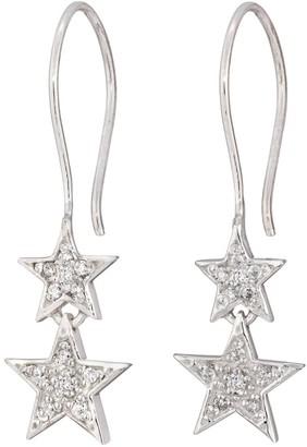 Lucky Star Double Drop Earrings Silver
