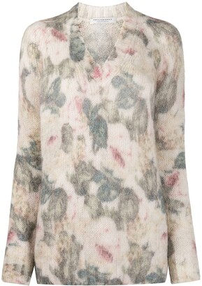 Philosophy di Lorenzo Serafini Floral Patterned Chunky Knit Jumper