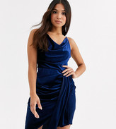 TFNC Petite Petite velvet mini dress with drape detail in midnight navy