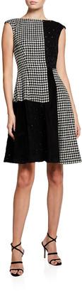 Talbot Runhof Coben Mixed-Print Fit-&-Flare Dress
