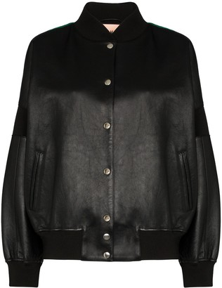 Plan C Contrast Back Bomber Jacket
