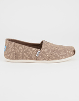 Toms Foil Feathers Womens Classic Slip-Ons