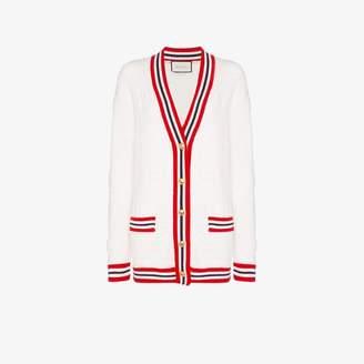 Gucci Womens White Stripe Trim Knitted Cardigan