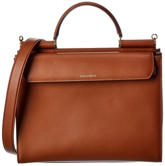 Dolce & Gabbana Sicily 62 Large Leather Satchel