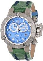 Invicta Women's 11621 Subaqua Chronograph Blue Dial Green Leather Watch