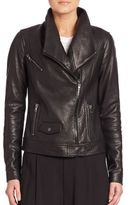 Vince Oversized Collar Leather Bomber Jacket