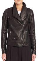 Vince Oversized Collar Leather Bomber Jacket