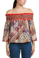 Glam Blooming Paisley Smocked Top.