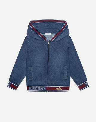 Dolce & Gabbana Washed Denim Jersey Hoodie