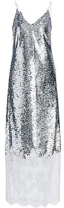 Erdem Arden Lace Trim Sequin Slip Dress