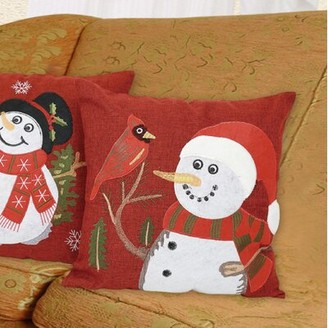 Violet Linen Seasonal Cardinal Christmas Throw Pillow