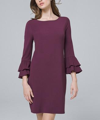 White House Black Market Women's Casual Dresses Empire - Empire Plum Three-Quarter Sleeve Tiered Shift Dress - Juniors