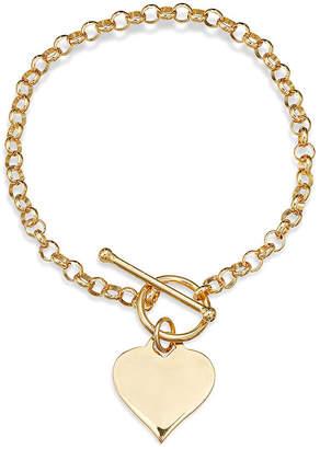 FINE JEWELRY 14K Gold Over Sterling Silver Heart Toggle Link Bracelet