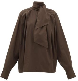 Matthew Adams Dolan - Pleated High-neck Cotton Poplin Blouse - Womens - Brown