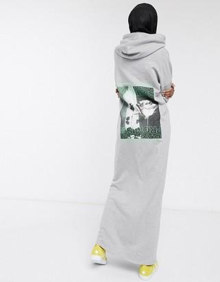 ASOS DESIGN hoodie maxi sweat dress with broken promises back print in grey