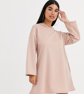 Asos DESIGN Petite hoodie swing dress with concealed pockets in camel