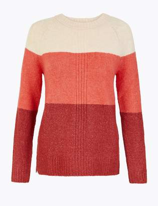 Marks and Spencer Colour Block Relaxed Fit Jumper