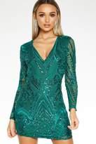 Quiz Bottle Green Sequin Dress