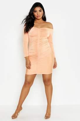 boohoo Plus Off Shoulder Rouched Mini Dress