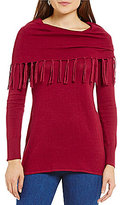 Multiples Long Sleeve Fringe Cowl Collar Swing Sweater