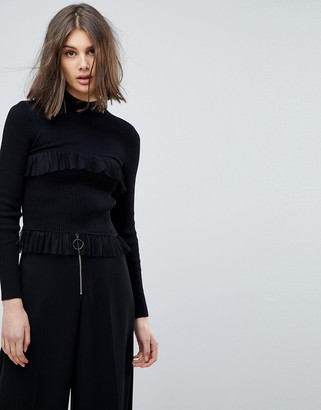 Lost Ink High Neck Sweater With Rib & Ruffle Details