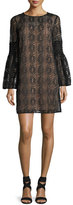 MICHAEL Michael Kors Long Bell-Sleeve Lace Shift Dress