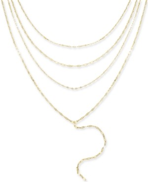 "Thalia Sodi Gold-Tone Multi-Layer Choker Lariat Necklace, 16""+ 3"" extender, Created for Macy's"