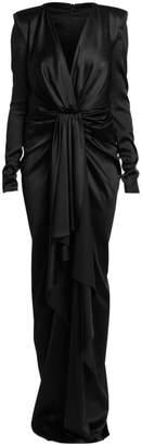 Alexandre Vauthier Stretch Satin Long-Sleeve Ruffle Column Gown