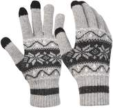 Novawo Men Women Crochet Insulated Snowflake Full-Finger Gloves