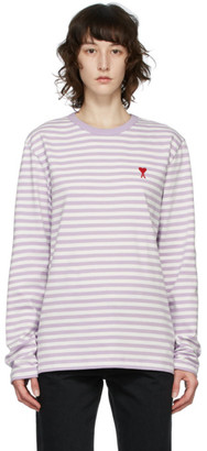 Ami Alexandre Mattiussi Purple and White Ami De Coeur Mariniere Long Sleeve T-Shirt