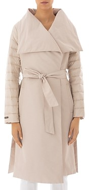 Peserico Channel-Quilted Wide-Lapel Down Coat