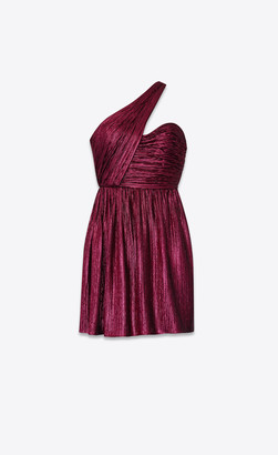 Saint Laurent Dresses Asymmetrical Dress In Viscose With Disco Lame Fuchsia 10