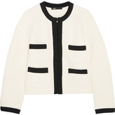 Maje Grosgrain-trimmed Cotton-blend Jacket - Ecru