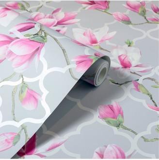 Arthouse Magnolia Trellis Grey & Pink Metallic Wallpaper