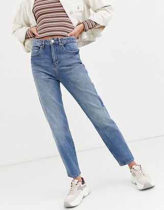 Miss Selfridge mom jeans in mid wash-Blue