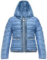 Moncler Kamaria Hooded Fringe-Trim Down Coat, Blue, Size 8-14