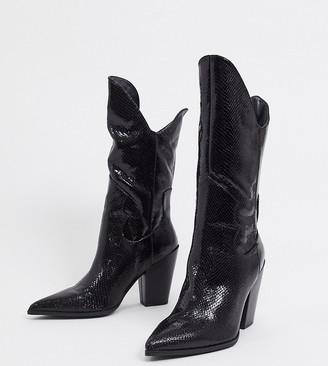 Public Desire Wide Fit Dynasty western knee boots in black
