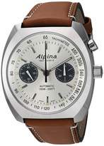Alpina Men's Startimer Pilot Heritage Stainless Steel Swiss Automatic Aviator Watch with Leather Calfskin Strap