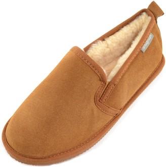 SNUGRUGS Mens Henley Sheepskin Rubber Sole Low-Top Slippers