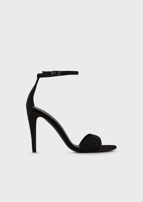 Emporio Armani Rhinestone-Covered Sandals With Ankle Strap