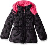 Pink Platinum Little Girls' Toddler Tonal Heart Print Puffer Jacket